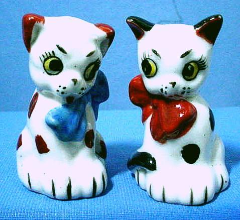 Calico Dog and Cat Salt and Pepper Shakers