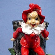 Tree Stump Vase with Mischievous Red Elf or Pixie