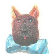 Vintage Scottie Dog Head Brooch with Big Blue Bow Early Plastic