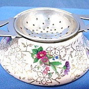 SALE English Chintz Tea Strainer and Stand by Midwinter 1940s