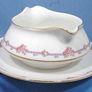 SALE Homer Laughlin Gravy Bowl with Attached Tray 1920s