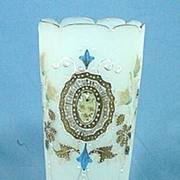 Victorian Bristol Blown Glass Vase Hand Painted Satin Glass
