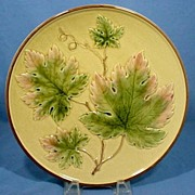 German Majolica Large Plate with Grape Leaves  11 1/4 inch
