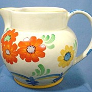 Signed Hand Painted Large Staffordshire Pitcher 1920s
