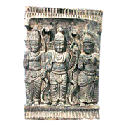 Anglo Indian Carved Panel with Three Deities