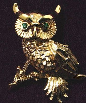 Signed Monet Golden Owl Pin with Faux Emerald Eyes