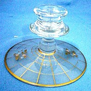 Art Deco Candle Holder Satin Glass with Gold and Enamel Decoration