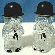 Figural Glass Comic Character Salt and Pepper Vintage