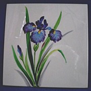 Ceramic Tile with Hand Painted Purple Iris Flowers