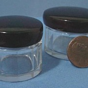 Pair Dresser Jars Cut Paneled Sides Tortoiseshell screw tops