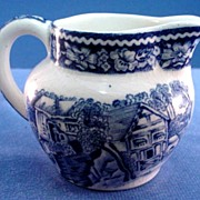 Transfer Decorated Mini Pitcher Blue and White 1940s