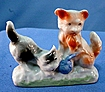 Old Japan Figure Two Kittens Playing with a Ball of Yarn