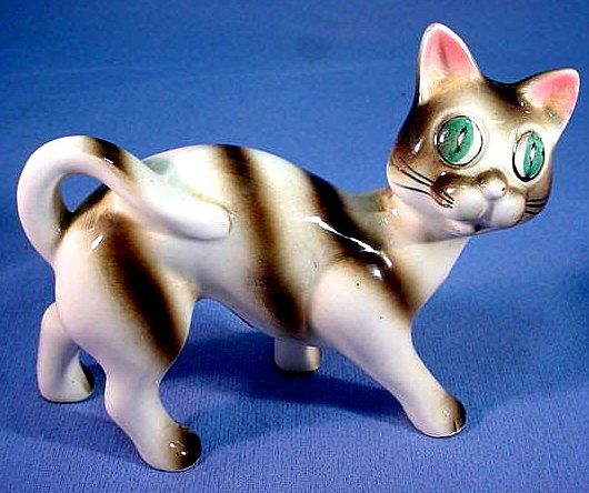Ceramic Cat Figure Hand Painted Adorable