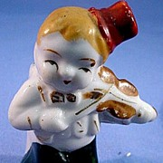 SALE Old Japan Boy with Violin Bud Vase