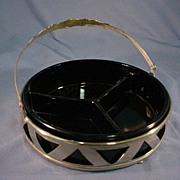 Elegant Black Glass Relish in Silver Metal Frame.