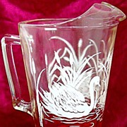 Vintage Glass Pitcher with Ice Lip Swan and Cattail Decoration