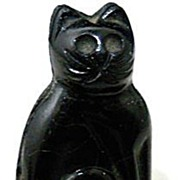 Doll House Miniature  Black Glass Cat