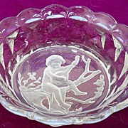 Victorian Glass Dish with Wheel Cut Intaglio Cherub