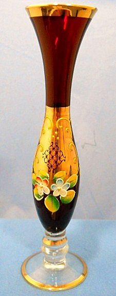 Ruby Glass Bud Vase with Enamel and Gold Decoration.