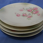 German Porcelain Side Plates with Pink Roses set of 4 Silesia