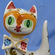 Vintage Pottery Cat Figure Hand Painted
