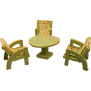 Dollhouse Furniture Wood Patio or Porch Table and Chairs 1930s