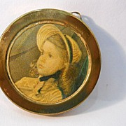 Dollhouse Miniature Framed Picture of Young Girl in Bonnet.