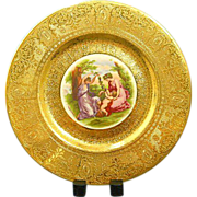 Limoges Cabinet Plate with 22 Carat Gold and Angelica Kauffman Classical Design.