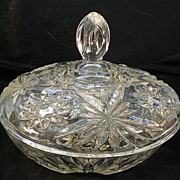 Pressed Glass Covered Candy Dish  Vintage