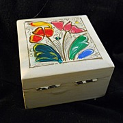Wooden Box with Hand Painted Flowers Vintage