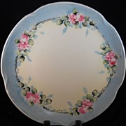 Antique Bavarian Porcelain Plate with Hand Painted Pink Roses Signed.