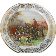 Butter Pat with Hunting Scene Framed in Golden Chintz