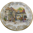 Butter Pat with Huntsmen at an Inn Framed in Golden Chintz