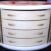 Art Deco Four Drawer Jewelry Chest with Tambour Doors