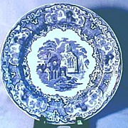 "Flow Blue ""Abbey"" Design Plate by George Jones 864-1907"