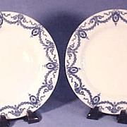 Pair Antique Flow Blue Plates, Classic