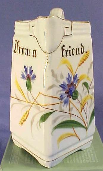 "Antique Victorian Hand Painted Porcelain Pitcher ""From a Friend"""