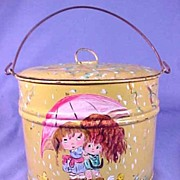 SALE Vintage Folk Art Hand Painted  Lard Bucket Lunch Pail,