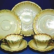 Victorian English Porcelain Dessert or Lunch Service for Four