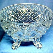 Vintage Pressed Glass Bowl with Scroll Feet