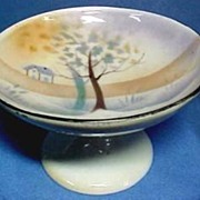 Vintage German China Compote, Luster with Hand Painted Scene