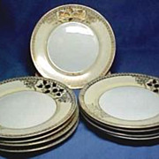Nippon type, Gold Overlay Plates, set of 8