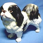 SALE Vintage Japanese Chin Dog, Bisque Porcelain