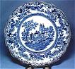 "Antique Flow Blue Plate ""Togo"" Design Circa 1890"