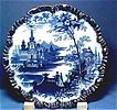 Antique Flow Blue, Beautifully Shaped Scenic Plate with Scalloped Rim