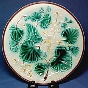 "Victorian Majolica 9"" Plate with Lovely Botanical Design"