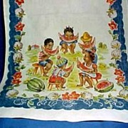 Vintage Black Americana Kitchen Towel with Adorable Children