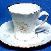 Victorian Hand Painted Porcelain Demitasse or Chocolate, Cup & Saucer