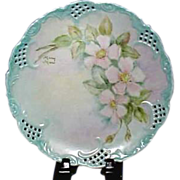Vintage Porcelain Reticulated Plate with Beautiful Hand Painted Roses
