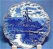 Antique Flow Blue Plate with Windmill Scene